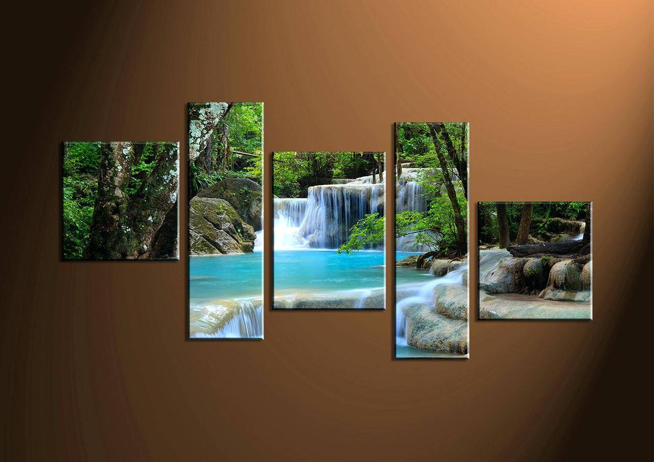 Wall Decor : Wall Decorating Home Decor 2 Piece Wall Art Waterfall Within Most Recently Released Multiple Piece Canvas Wall Art (View 22 of 25)