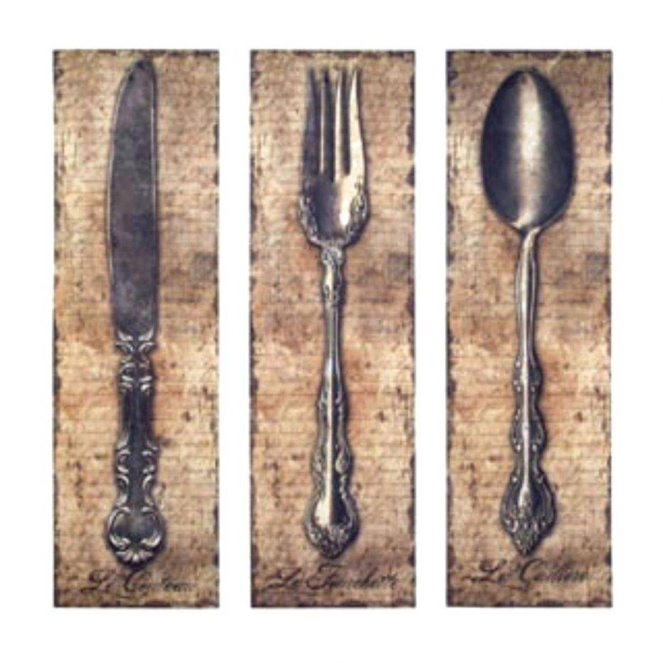 Wall Decor Interior Kitchen Utensils Art Intended For Most Recently Released Large