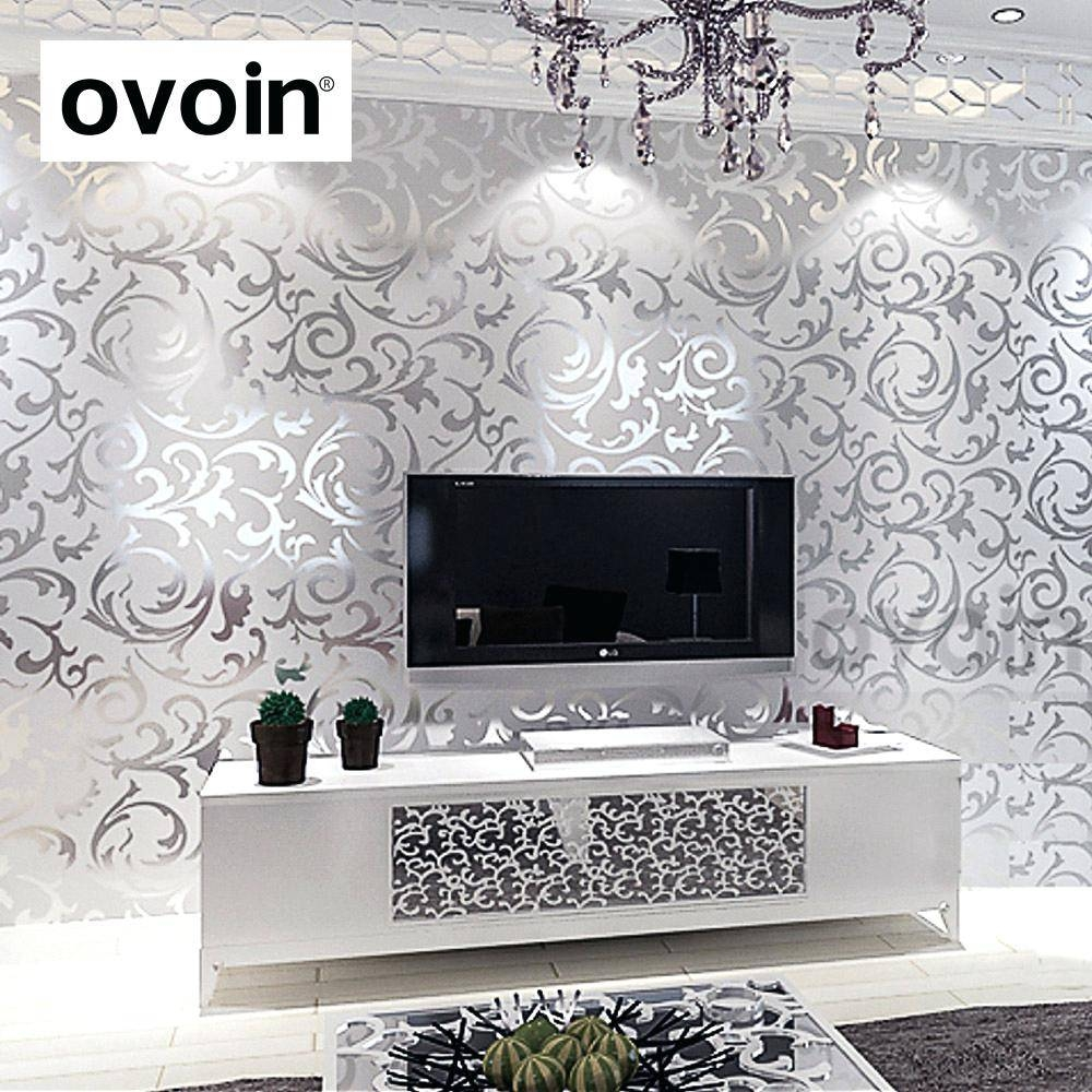 Wall Decor : Winsome Shabby Chic Floral Wallpaper In Various In 2018 Black And White Damask Wall Art (View 20 of 30)