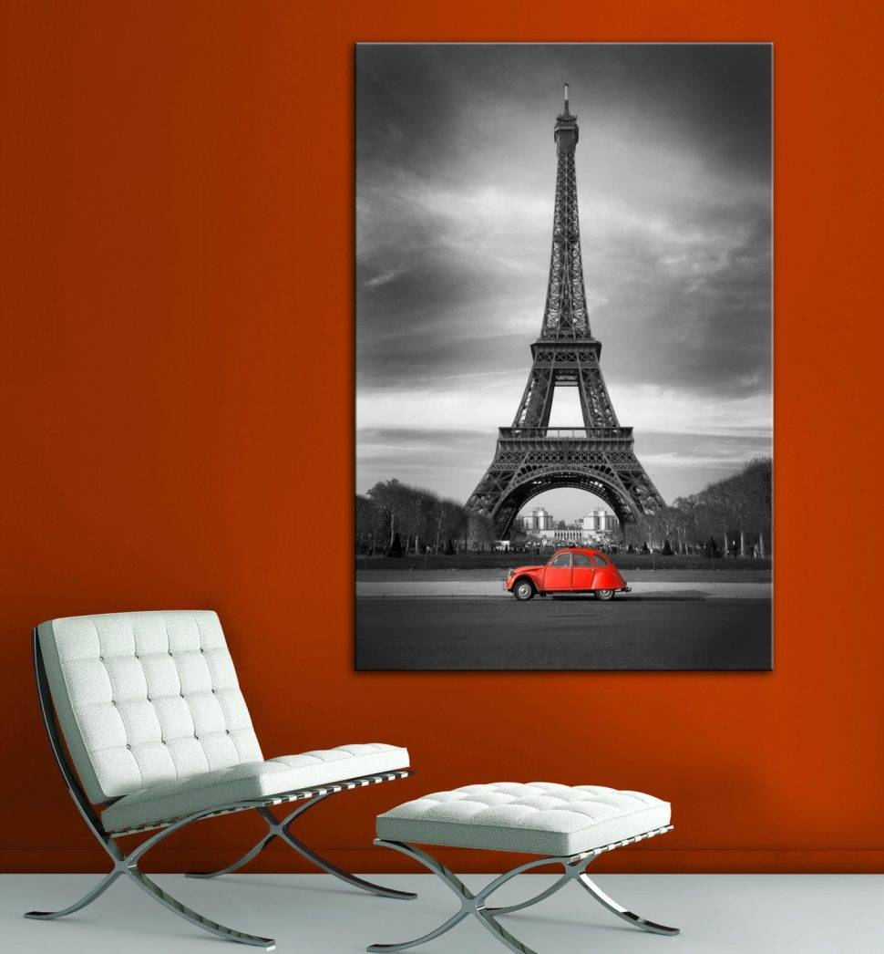 Wall : Eiffel Tower Red Car Paris Black White Wall Art Canvas With Most Popular Black White And Red Wall Art (View 19 of 20)