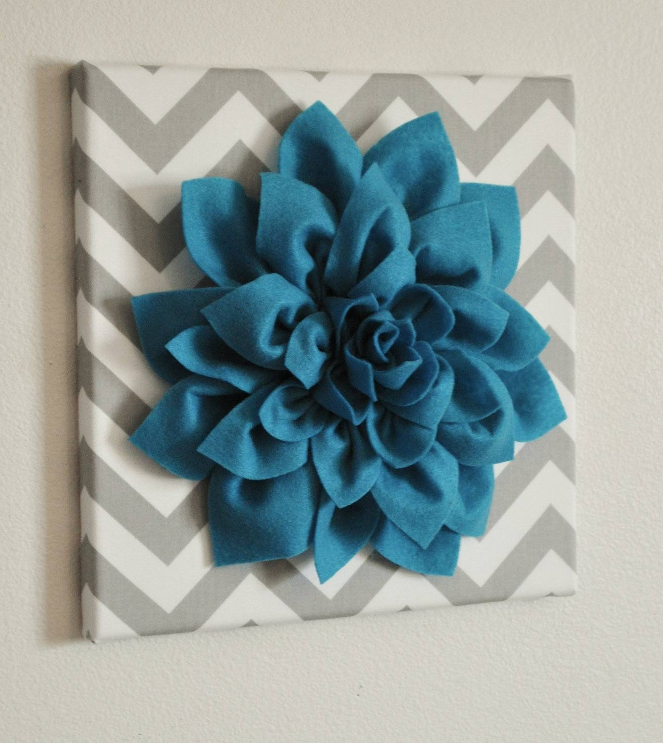 Wall Flower Dark Turquoise Dahlia On Gray And White Chevron With Regard To Most Current 3D Wall Art Etsy (View 19 of 20)