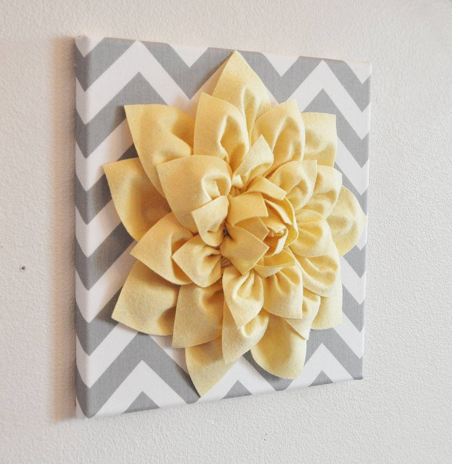 Wall Flower Light Yellow Dahlia On Gray And White Chevron 12 Regarding Most Current 3d Flower Wall Art (View 3 of 20)