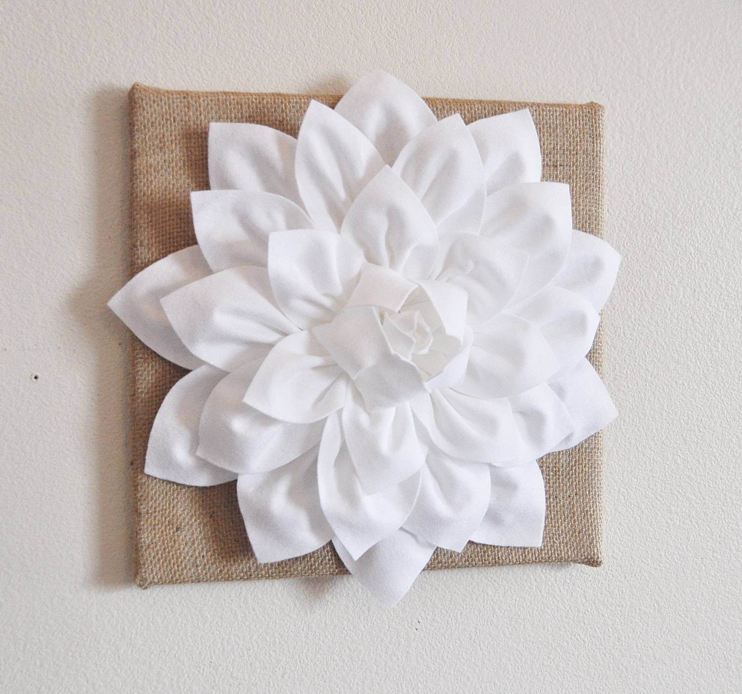 Wall Flower White Dahlia On Burlap 12 X12 Canvas Wall Pertaining To Most Current 3D Flower Wall Art (View 19 of 20)