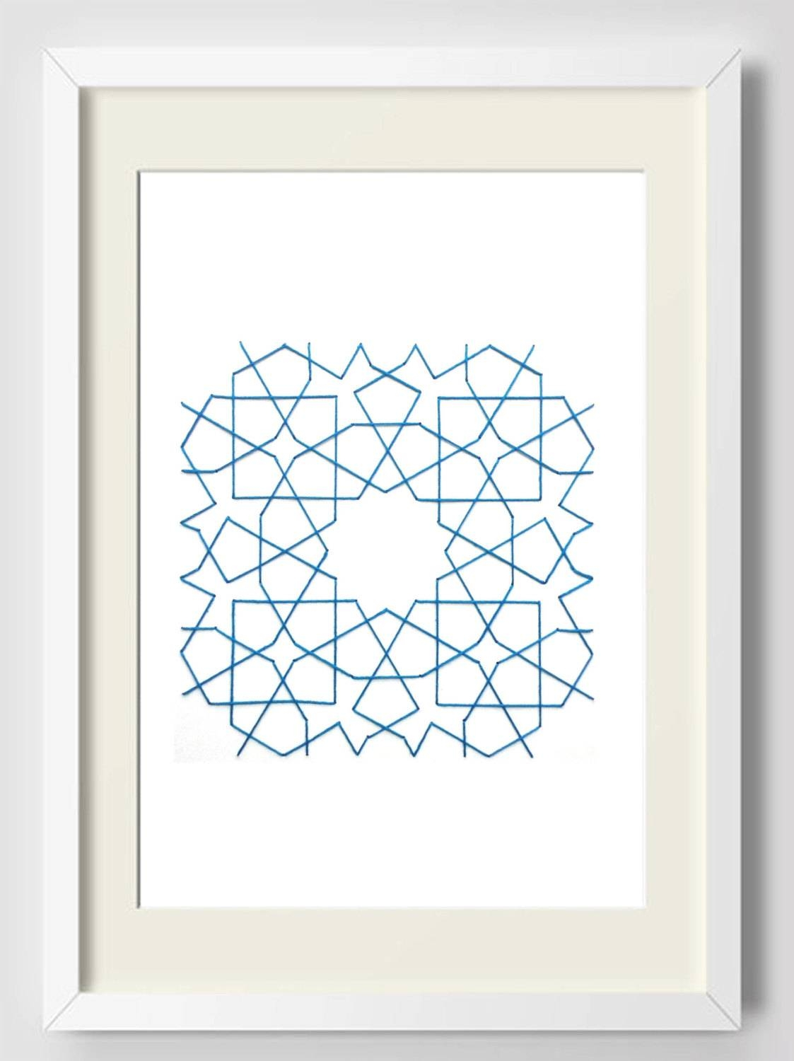 Wall Geometric Art Embroidery On Paper Modern Ancient Motif For Most Recent Pattern Wall Art (View 18 of 20)