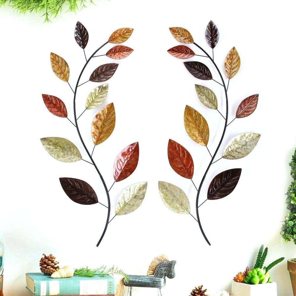 Wall Ideas : Gold Metal Leaves Wall Decor Jennison Metal Wall With Newest Kohls Metal Tree Wall Art (View 25 of 30)