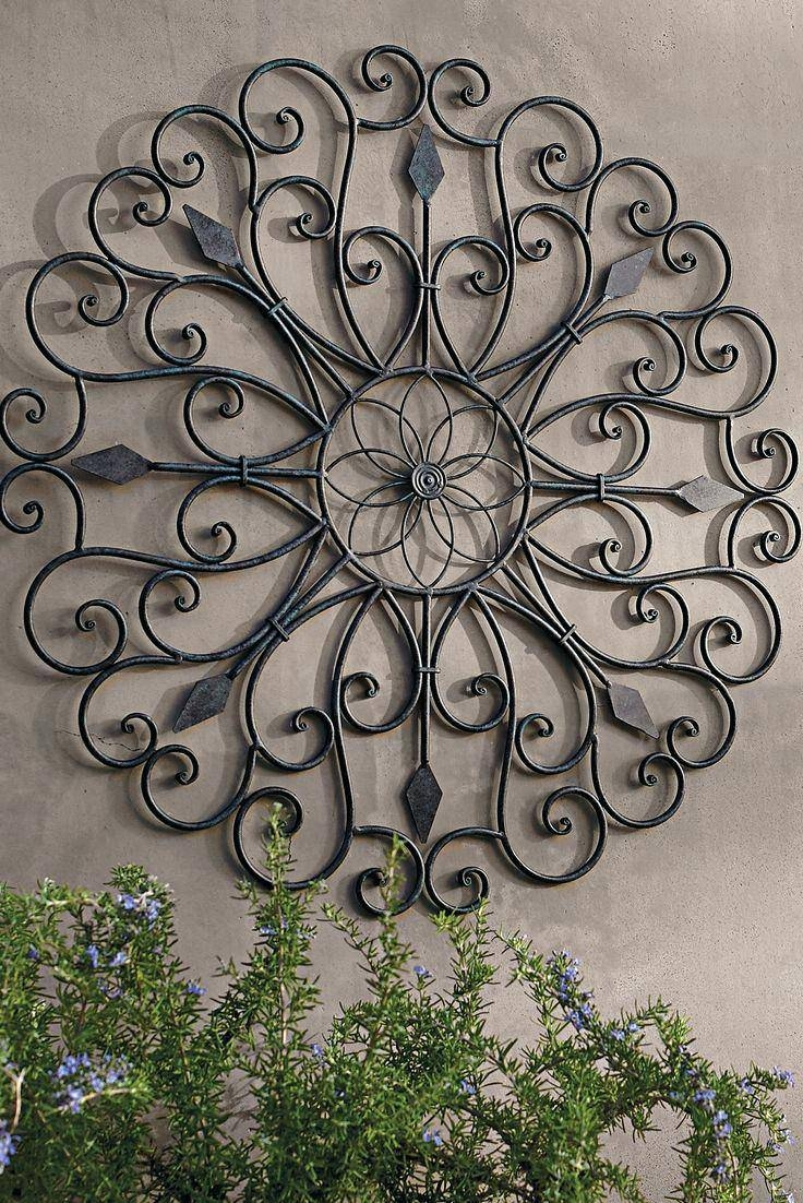 Wall Ideas: Iron Wall Decor. Metal Wall Art Outdoor Theme. Large Throughout  Most