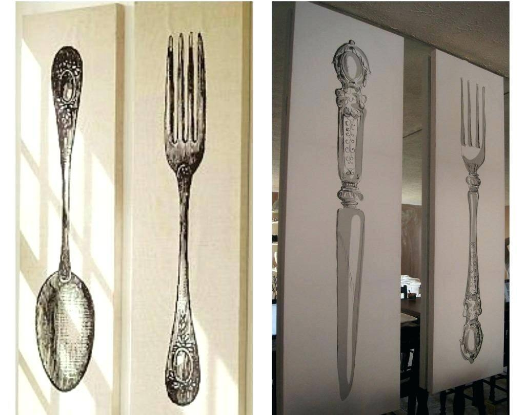 Wall Ideas : Kitchen Utensil Wall Art Large Metal Utensil Wall Art Inside Newest Big Spoon And Fork Wall Decor (View 25 of 30)