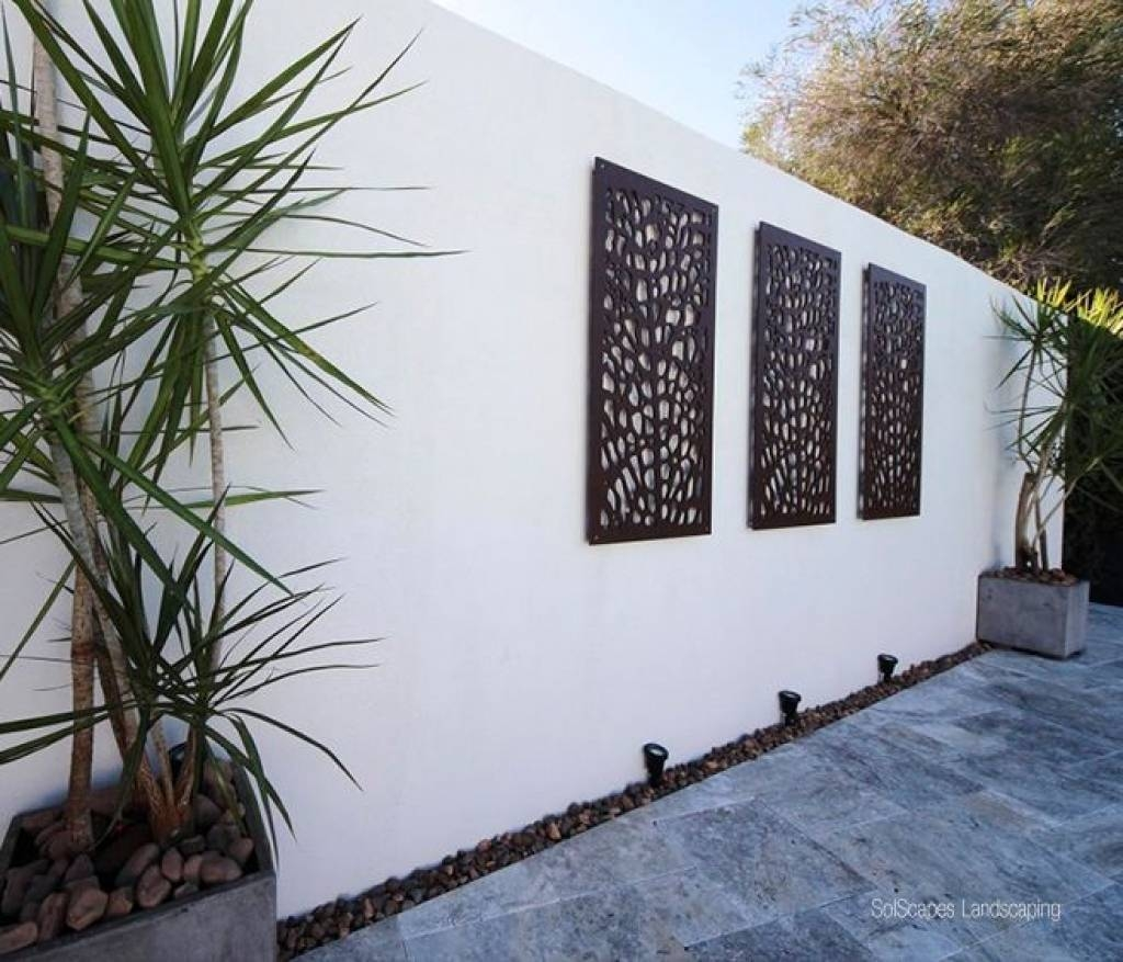 Wall Ideas: Outdoor Wall Art Decor Photo. Trendy Wall. Metal Wall Regarding Most Popular Outside Wall Art (Gallery 7 of 31)