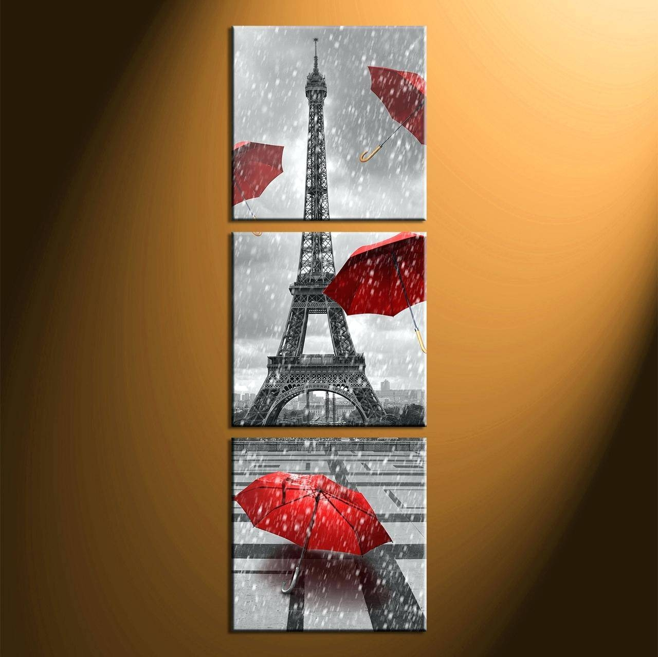 Wall Ideas : Red Metal Wall Art Decor Bedroom Daccor 3 Piece Wall Intended For 2018 Eiffel Tower Metal Wall Art (View 14 of 30)