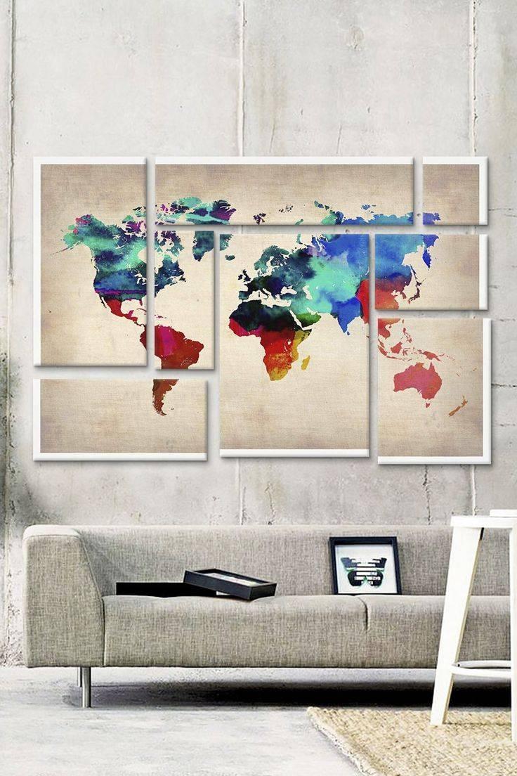 Wall Ideas: Wall Art World Map Design (View 6 of 20)