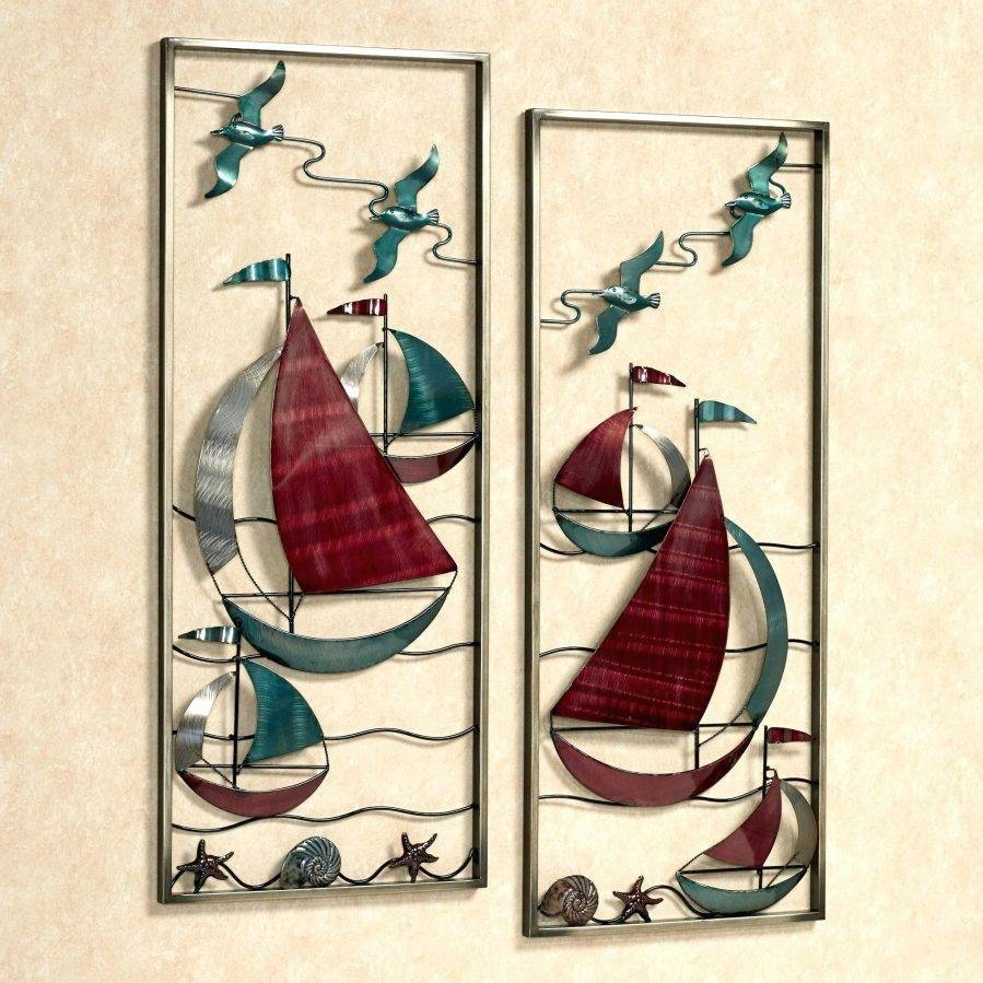 Wall Ideas : With The Sea Metal Sailboat Wall Art Panel Set Metal In Most Current Metal Sailboat Wall Art (View 24 of 30)