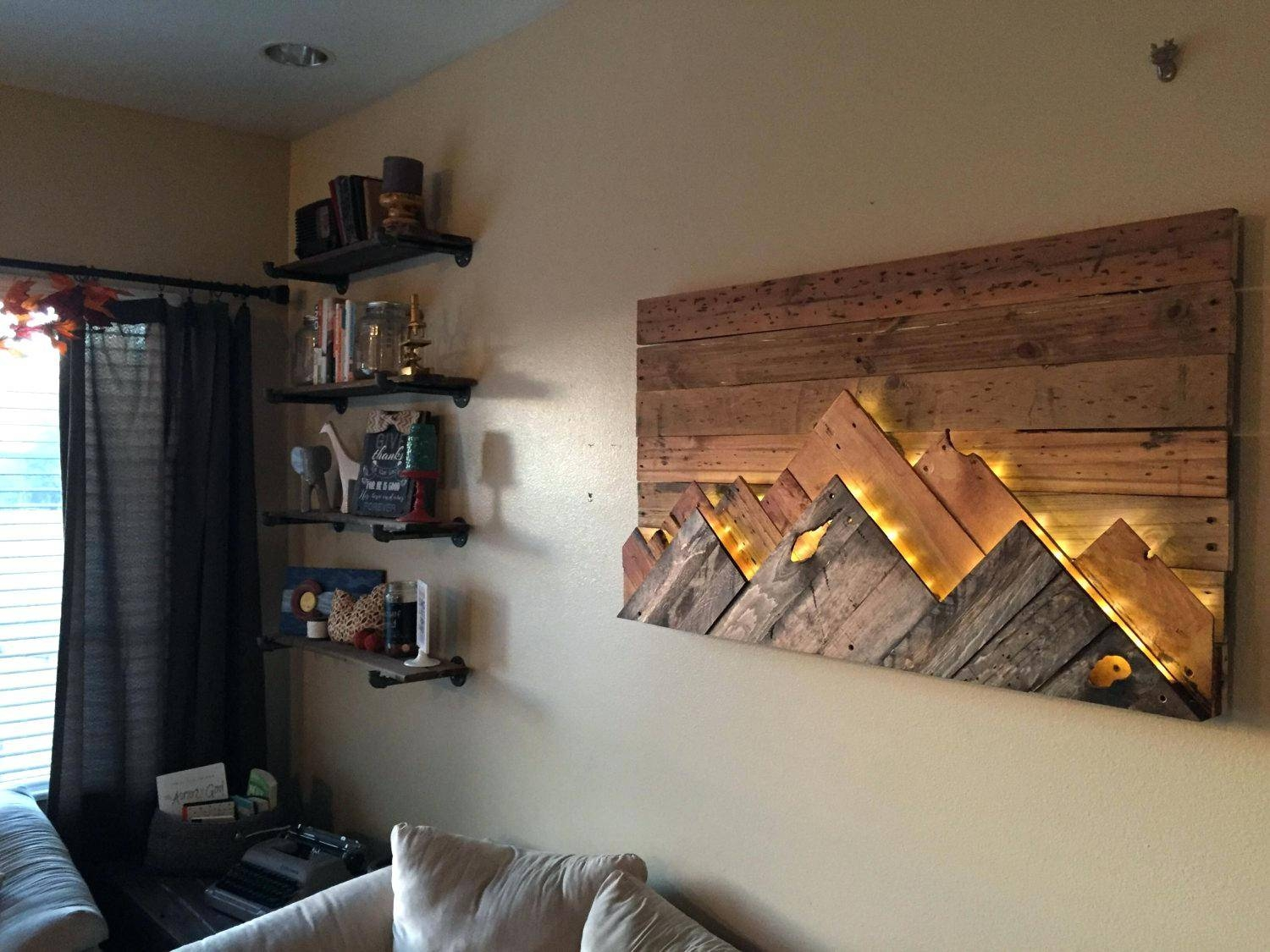 Wall Ideas : Wooden Mountain Range Wall Art Mountain Themed Metal Within Most Current Mountain Scene Metal Wall Art (View 15 of 30)