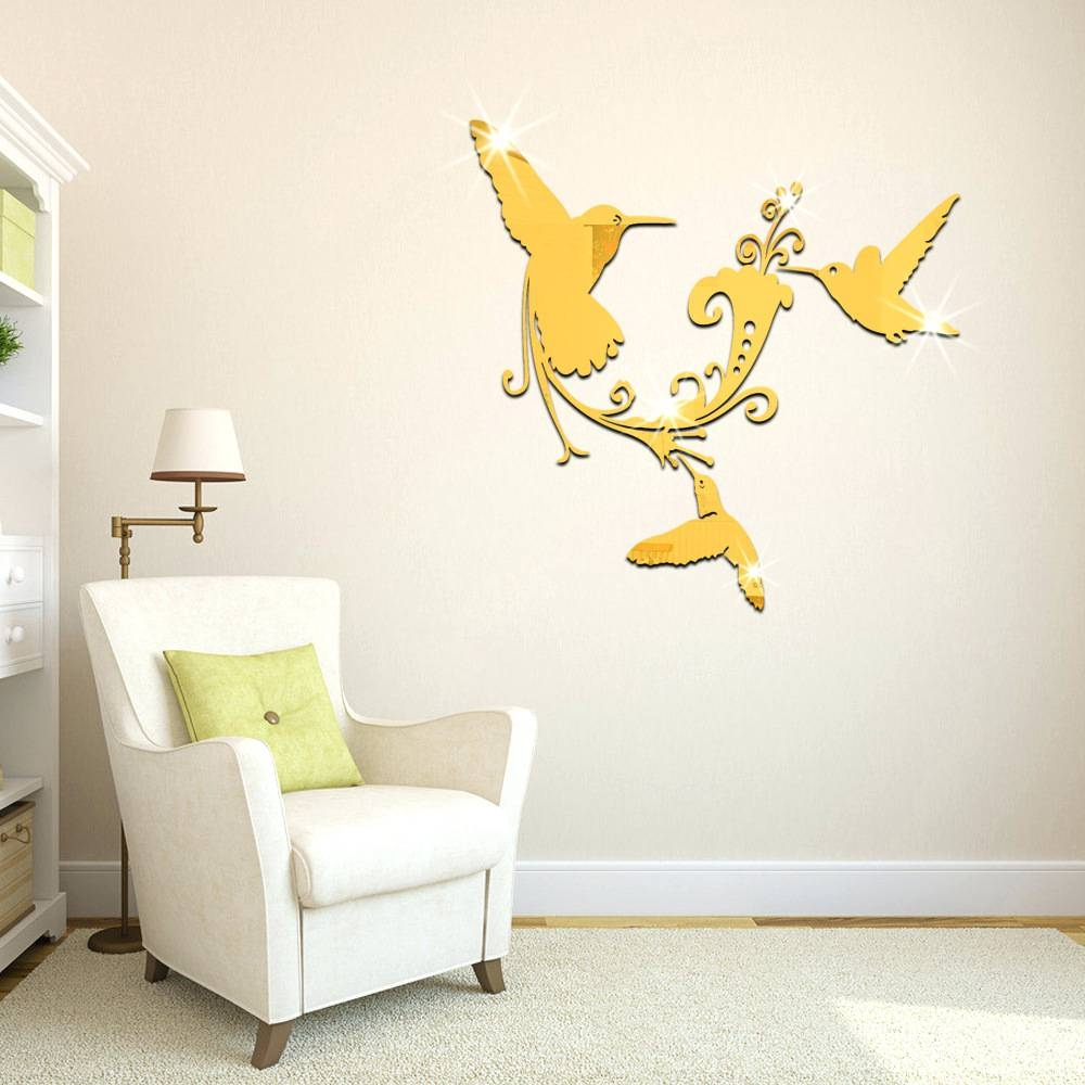Wall Mirrors ~ Bird On Branch Wall Mirror Bird Shaped Wall Mirrors Regarding Best And Newest White Birds 3D Wall Art (View 12 of 20)