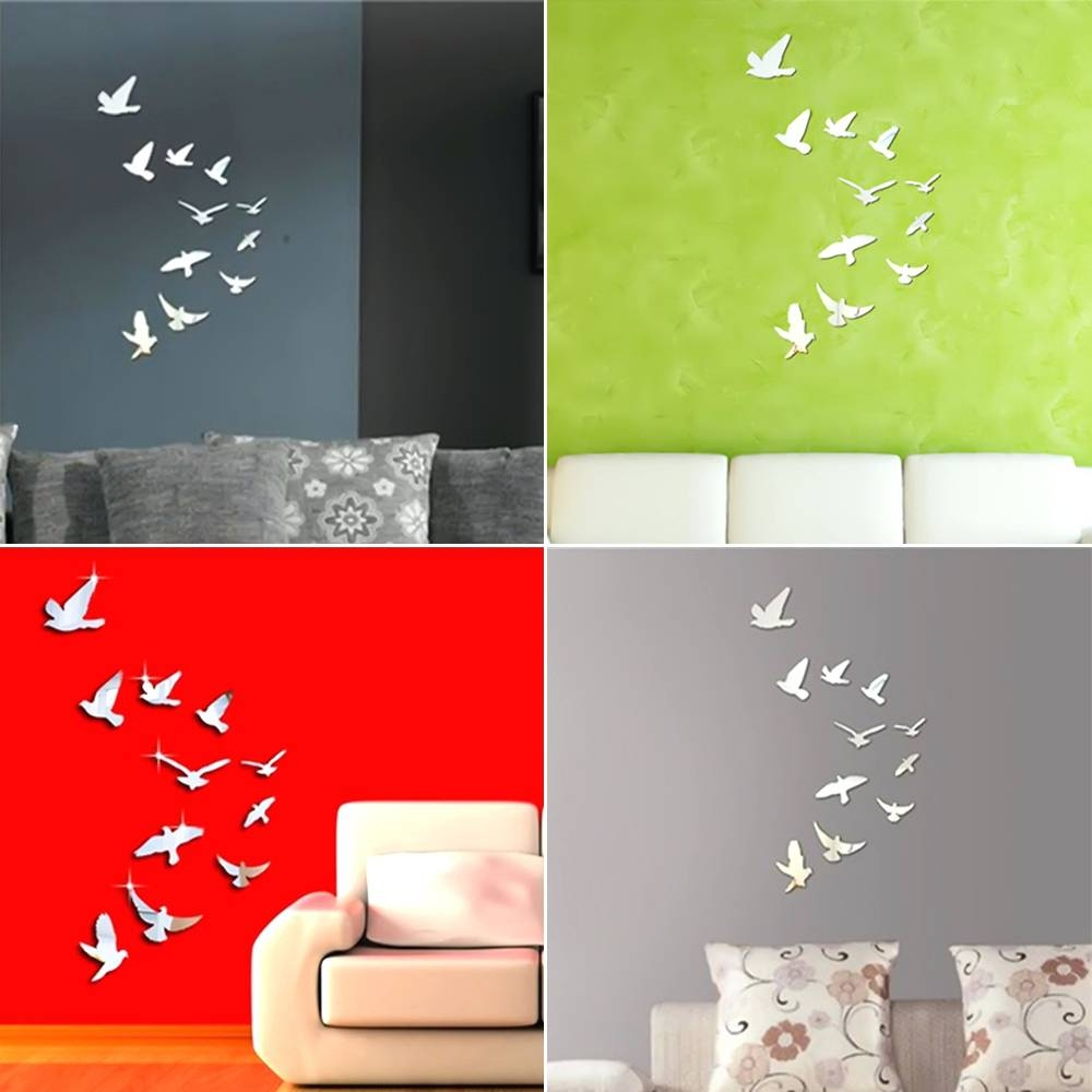 Wall Mirrors ~ Bird On Branch Wall Mirror White Bird Wall Mirror Throughout Latest White Birds 3D Wall Art (View 15 of 20)