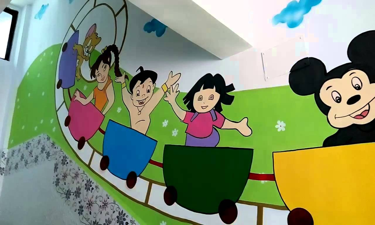Wall Painting Designs For Play School India – Youtube Pertaining To Most Current Preschool Wall Art (Gallery 22 of 30)