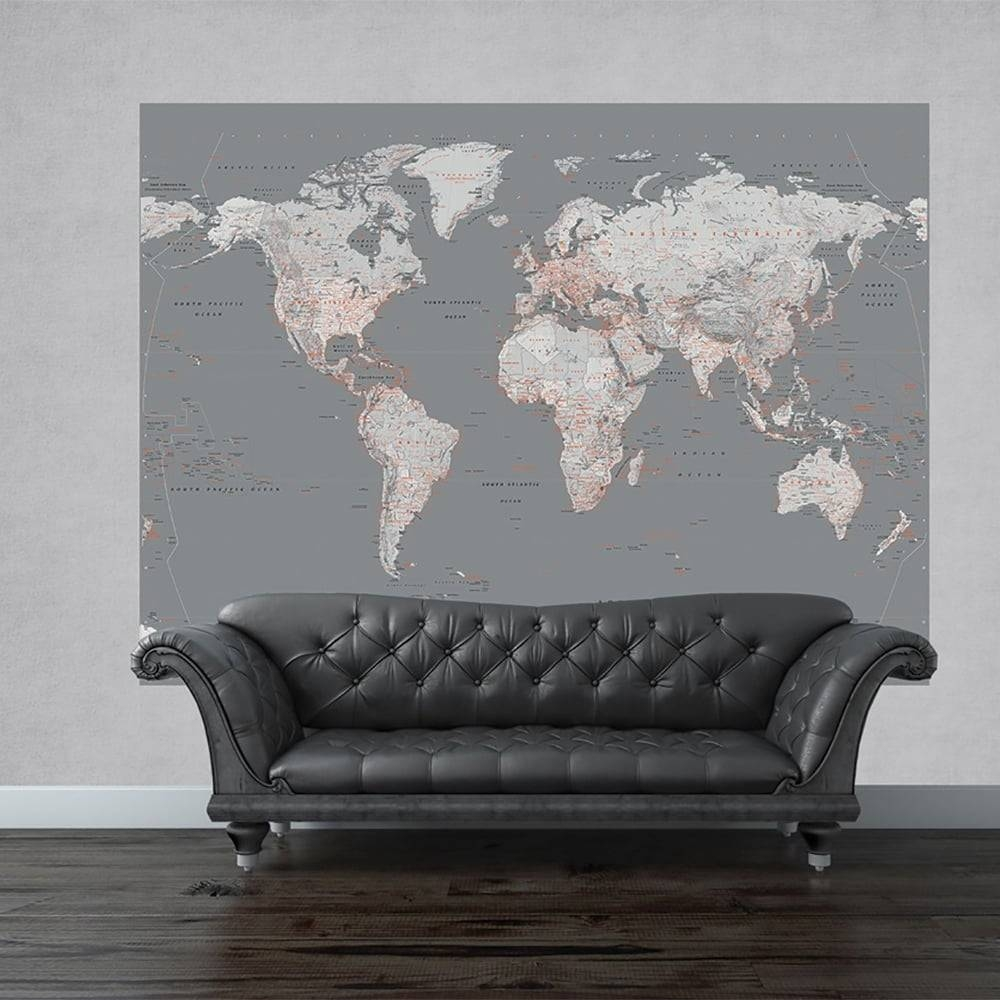 Wall Silver Map Mural World Globe Atlas Wall Art 2.32 X (View 3 of 20)