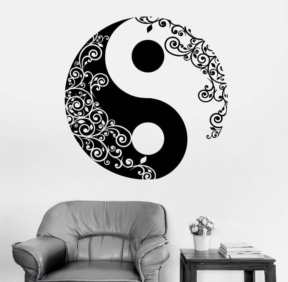 Wall Sticker Home Decal Buddha Yin Yang Floral Yoga Meditation Within Most Recent Yin Yang Wall Art (View 23 of 30)