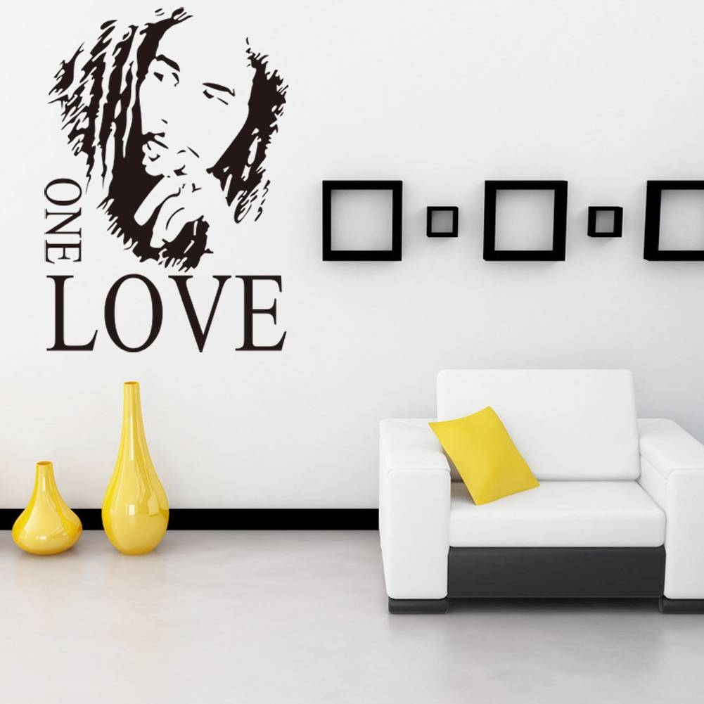 Wall Sticker Vinyl Art Decor Bob Marley One Love Mural Removable Inside Recent Bob Marley Wall Art (View 28 of 30)