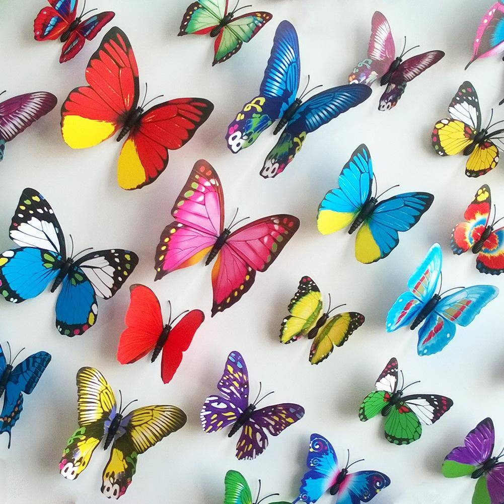 Wall Stickers 3D Pvc Butterfly Wall Stickers Beauty Your Living Throughout Recent Butterflies 3D Wall Art (View 19 of 20)