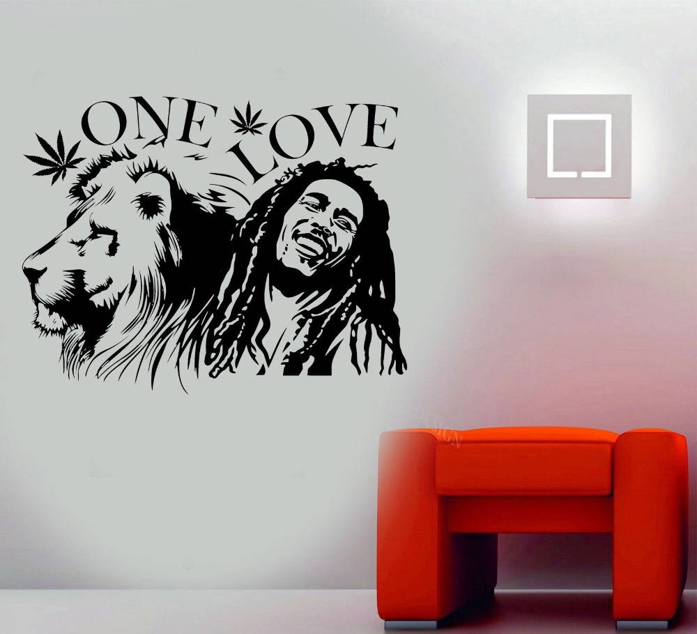 "Wall Stickers Bob Marley Lion Zion ""one Love"" Marijuana Quote Wall Regarding Most Up To Date Bob Marley Wall Art (View 16 of 30)"