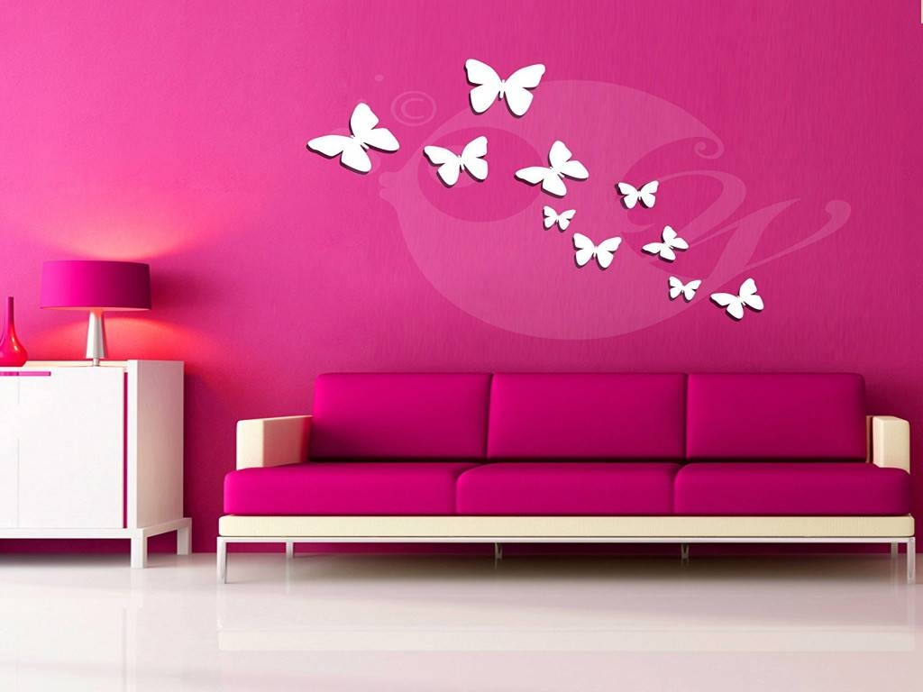 Wall Stickers For Bedrooms Awesome Butterflies Acrylic 3D Wall Art Pertaining To Recent Decorative 3D Wall Art Stickers (View 19 of 20)