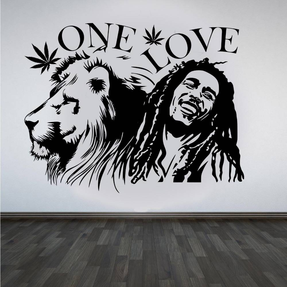 "Wall Stickers Muraux Bob Marley Lion Zion ""one Love"" Marijuana Regarding Most Current Bob Marley Wall Art (View 30 of 30)"