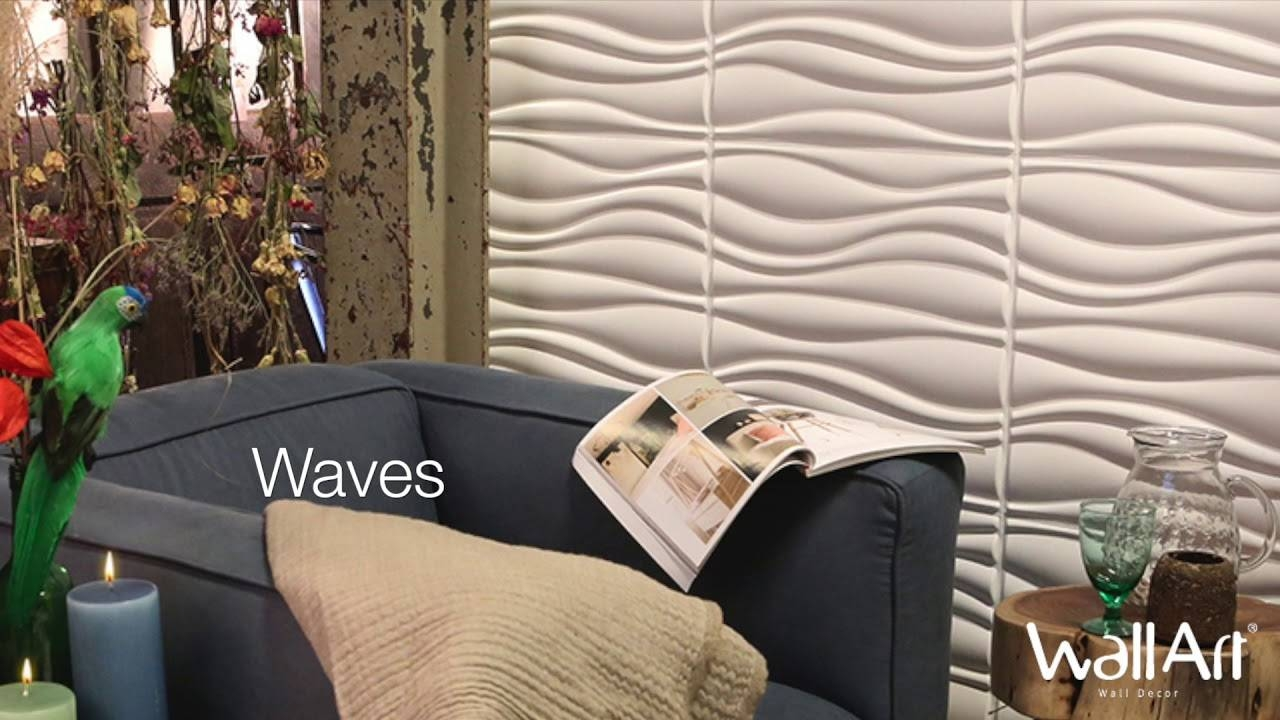Wallart 3d Wall Panels Waves Design – Youtube Intended For Most Recently Released Waves 3d Wall Art (View 17 of 20)