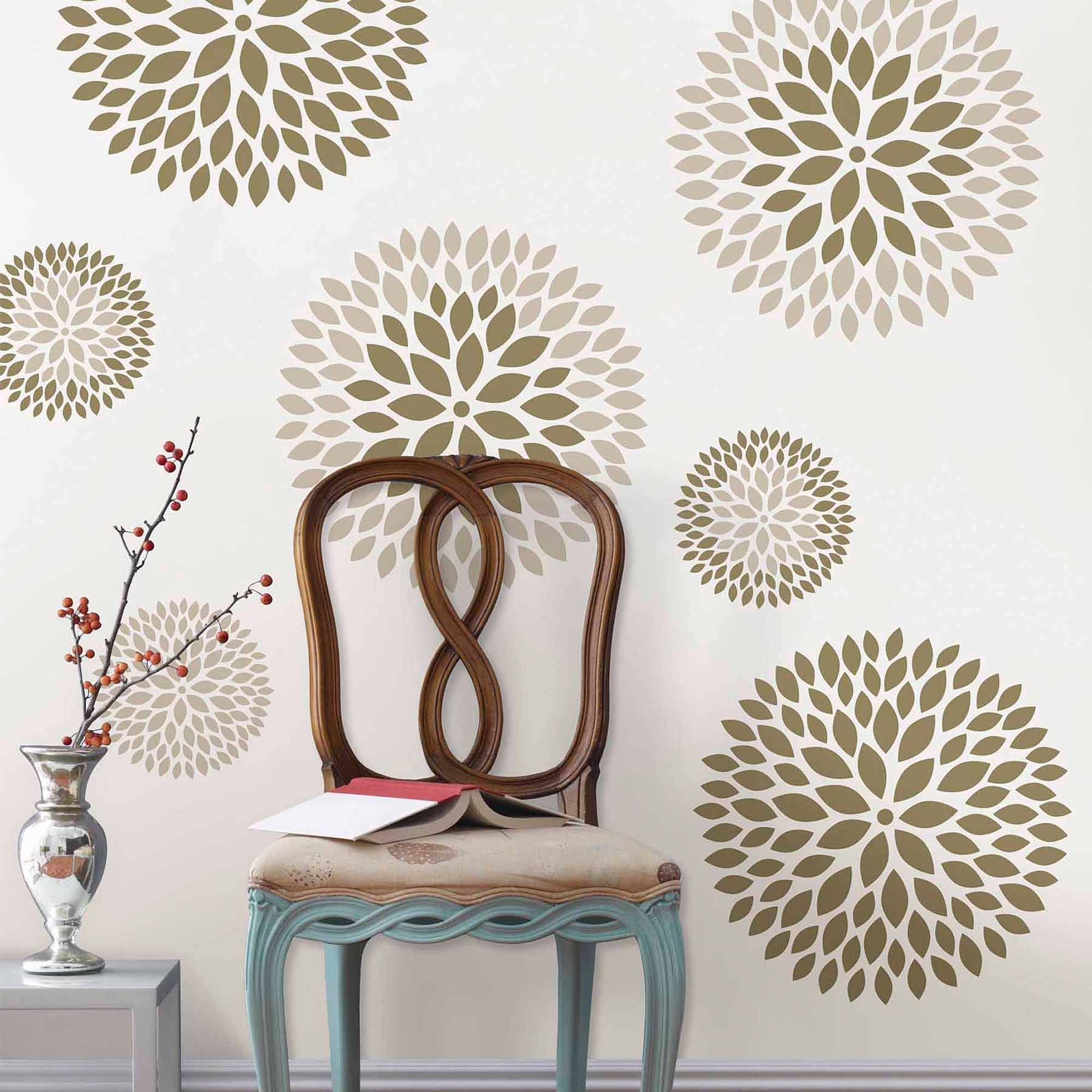 Wallpops Chrysanthemum Wall Art Decals Kit – Walmart Regarding Most Recently Released Pattern Wall Art (View 19 of 20)