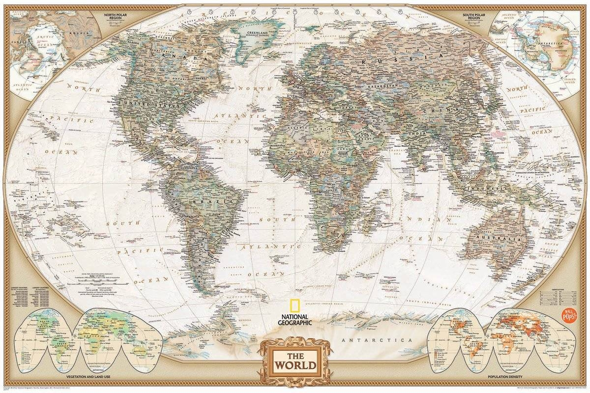 Wallpops! Wall Art Kit National Geographic World Map Wall Mural With Regard To Most Popular Map Wall Art (View 18 of 25)