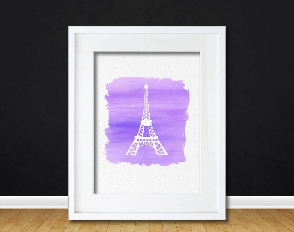 Watercolor Art Eiffel Tower Gift Modern 8X10 Wall Art Decor Eiffel In Current Eiffel Tower Wall Hanging Art (View 20 of 20)