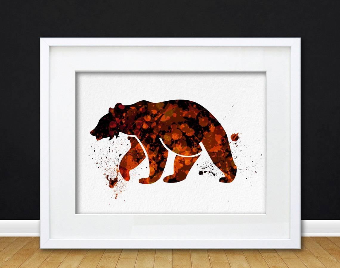 Watercolor Art Print Bear Woodland Animal Orange Black Modern 8X10 Inside Recent Animal Wall Art (View 24 of 25)