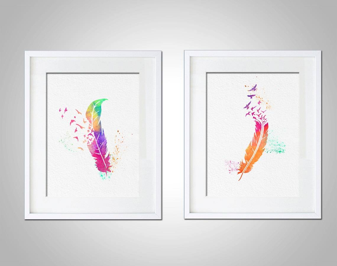 Watercolor Art Print Rainbow Feather Birds Set Of 2 Modern 8x10 Throughout 2018 Wall Art Print Sets (View 8 of 20)