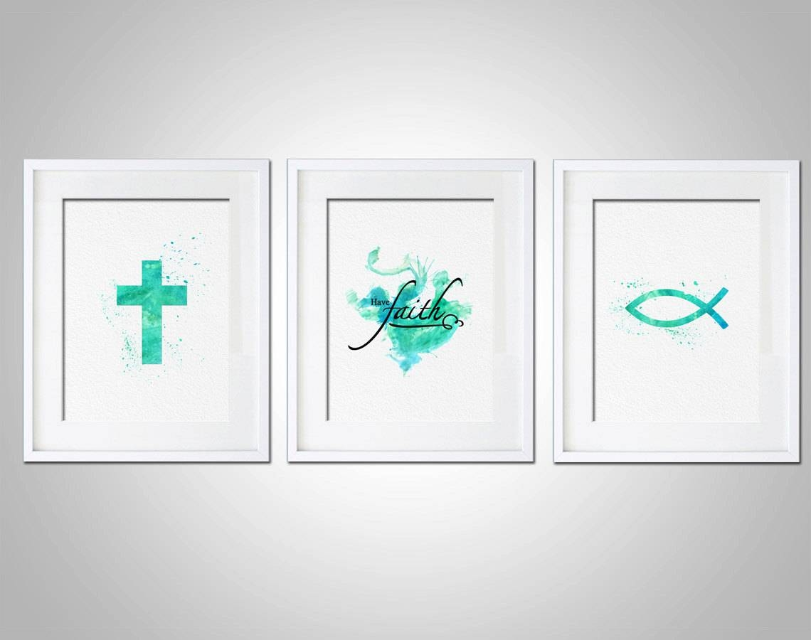 Watercolor Art Print Religious Have Faith Art Print Set Of 3 Regarding 2017 Wall Art Print Sets (View 18 of 20)