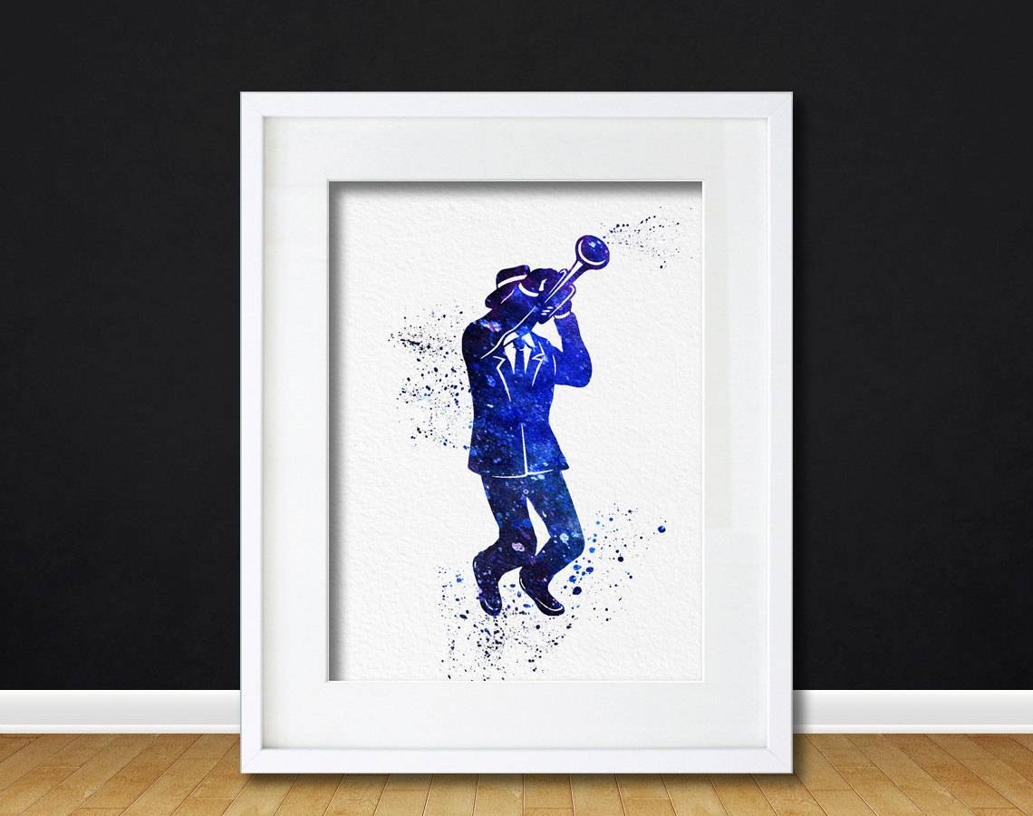 Watercolor Art Print Trumpet Jazz Player Modern 8X10 Wall Art Regarding Newest Music Themed Wall Art (View 15 of 25)