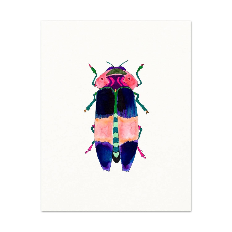 Watercolor Beetle. Watercolor Beetle Art Print. Kids Room Regarding Most Popular Insect Wall Art (Gallery 18 of 30)