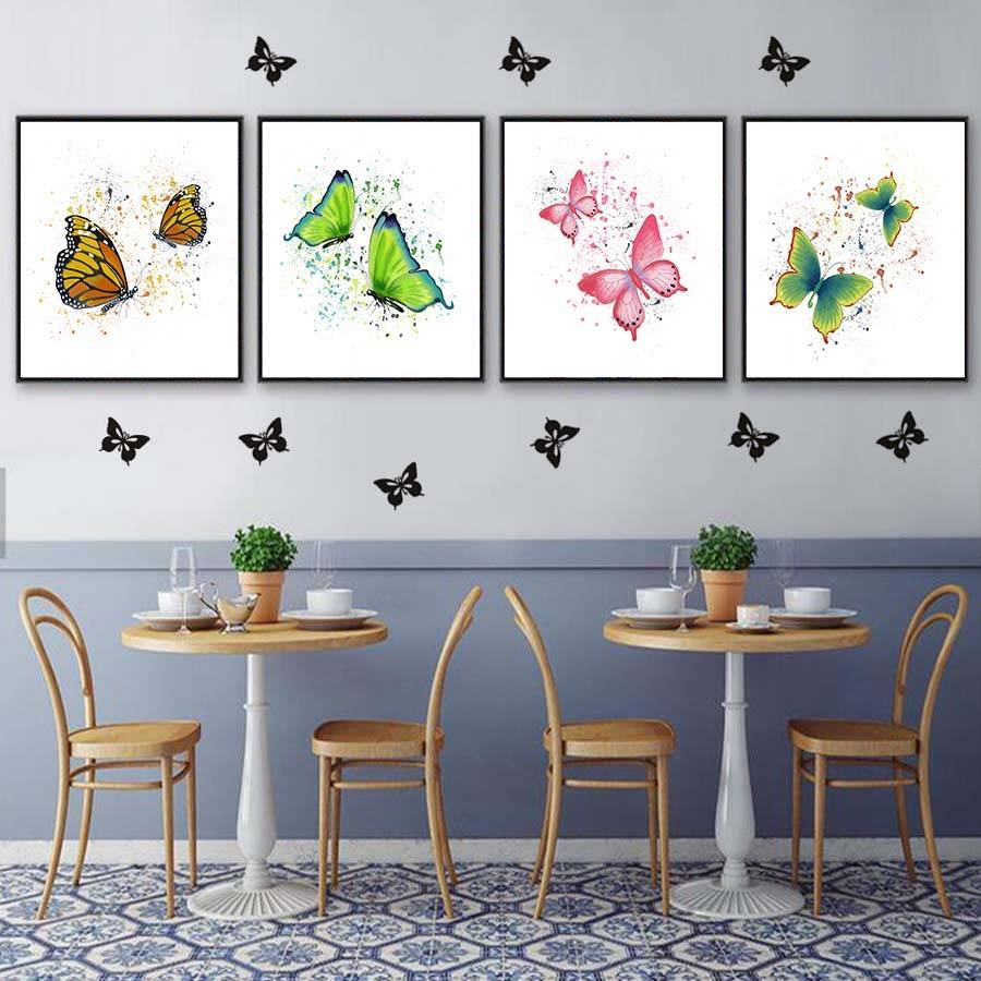 Watercolour Two Flying Butterflies Canvas Painting Wall Art Decor Inside Current Butterfly Canvas Wall Art (View 17 of 20)