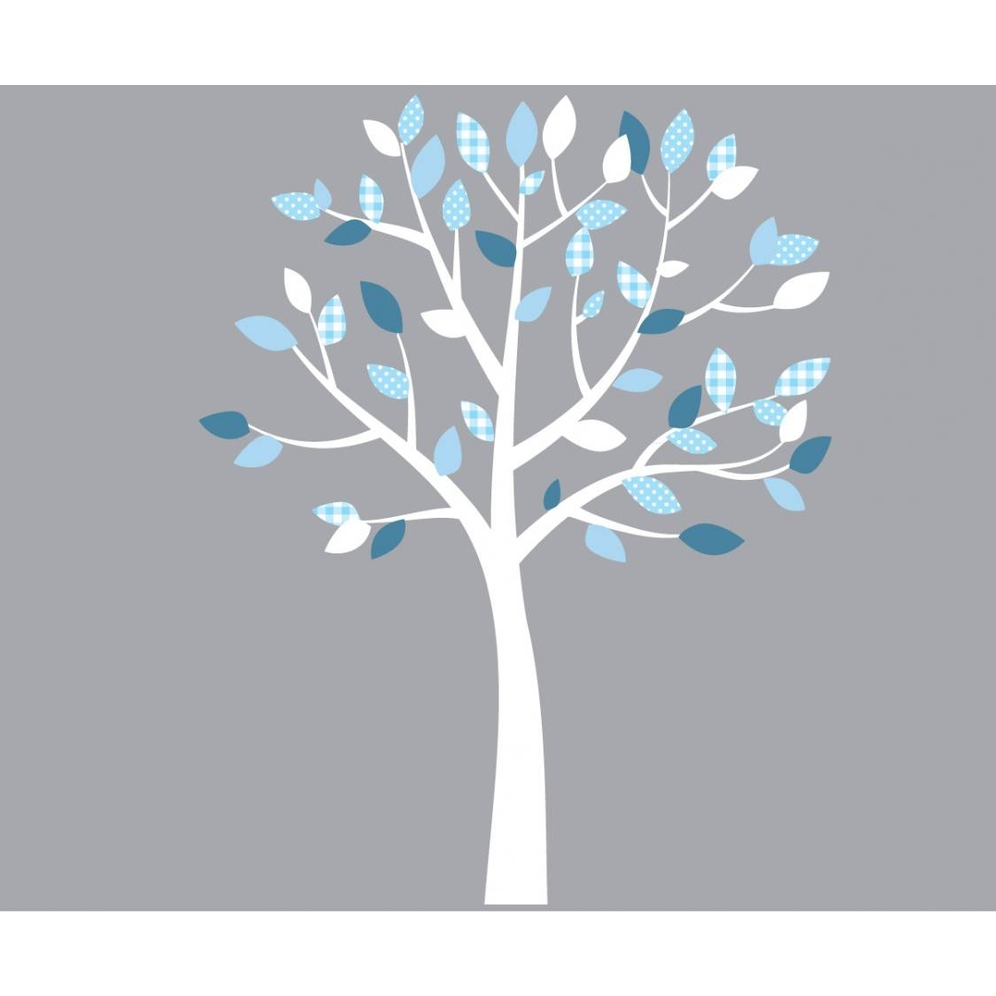 White And Blue Wall Decal Tree Nursery For Children With Recent Blue And White Wall Art (View 2 of 20)