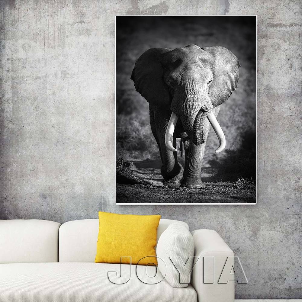 White Black Animal Canvas Wall Art Elephant Picture Modern Regarding 2017 Animal Canvas Wall Art (View 18 of 20)