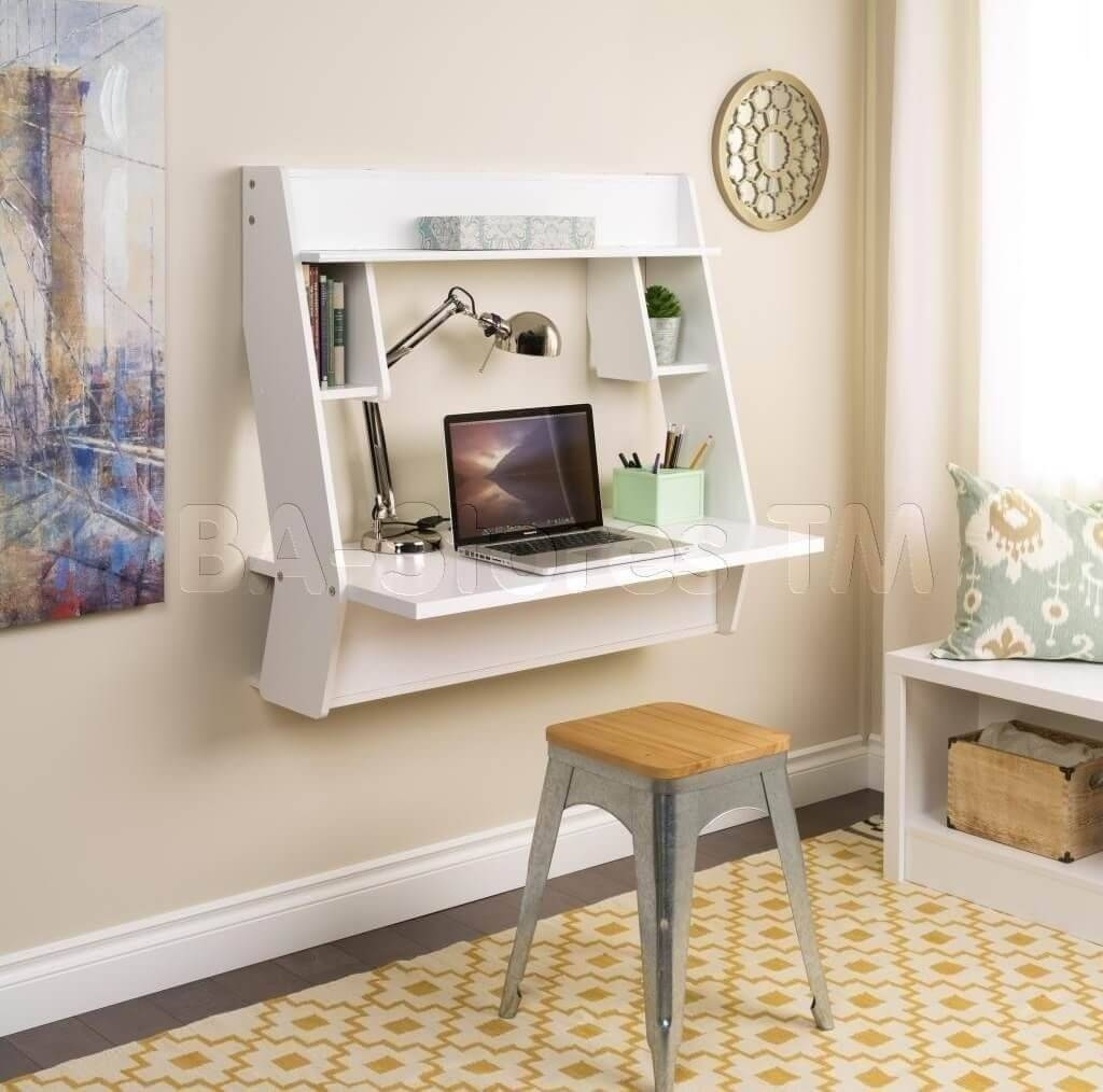 White Floating Desk Ideas With Stools And Decorative Wall Art Inside 2018 Computer Wall Art (View 20 of 20)
