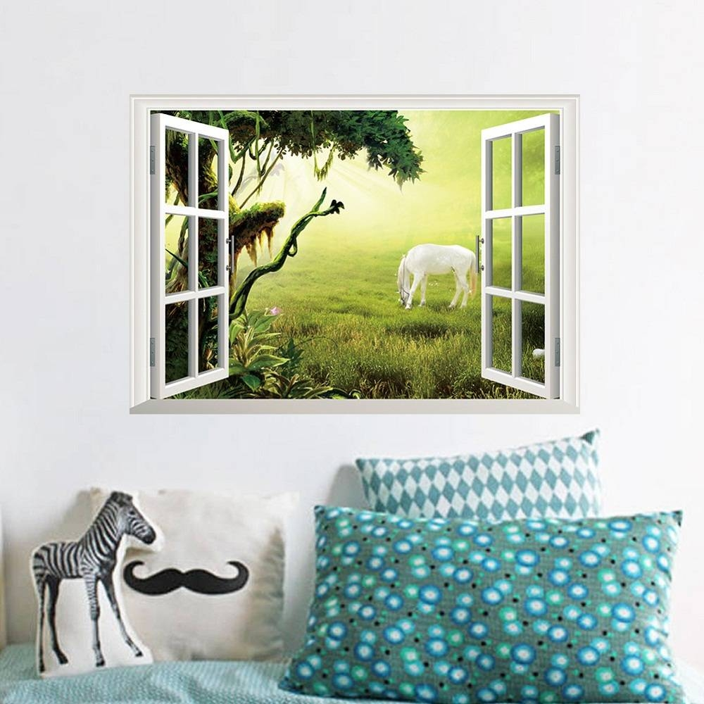 White Horse Grassland Opaque Window Stickers Home Animal 3D Wall In Most Recent Animals 3D Wall Art (View 20 of 20)