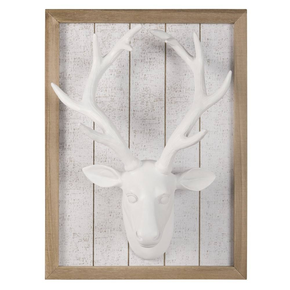 White Stag Head Trophy Wall Art 30 X 42 Cm | Maisons Du Monde With Regard To Most Recent Stag Wall Art (View 19 of 20)
