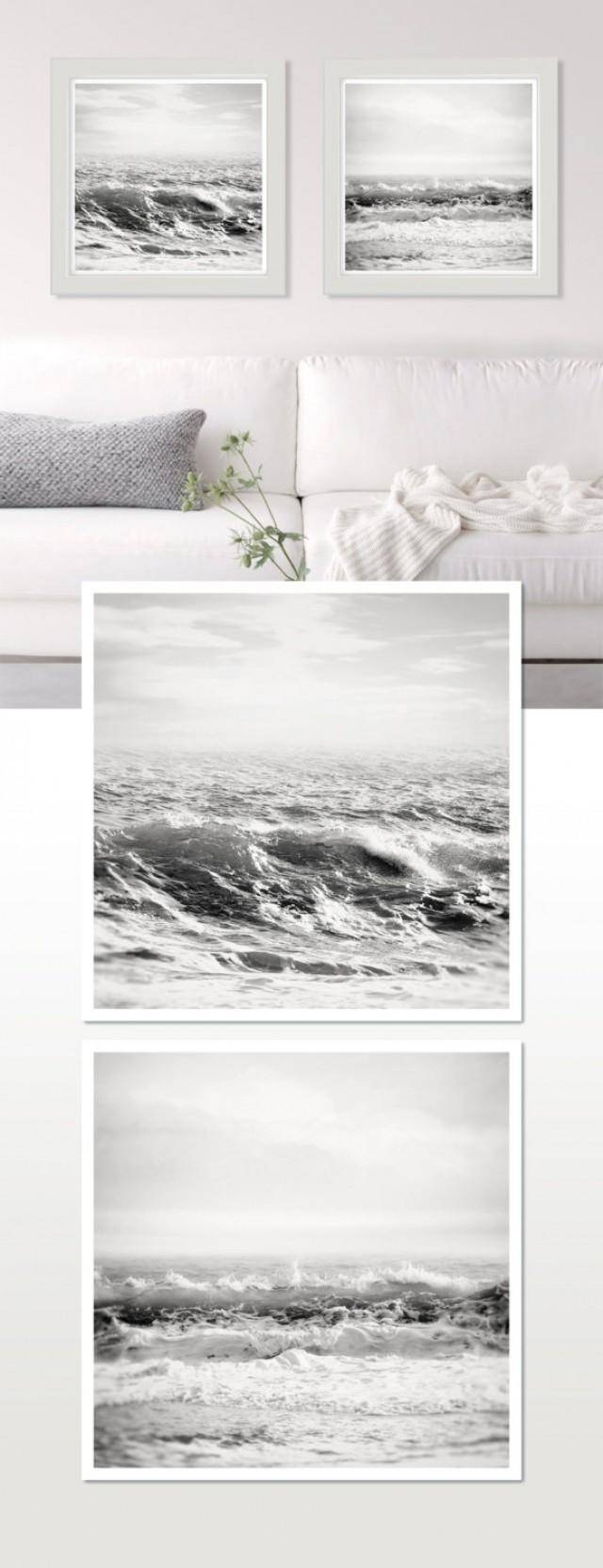 White Wall Art, Sea Print, Black And White Ocean Photography, Surf With Regard To Most Current Black And White Wall Art Sets (View 19 of 20)