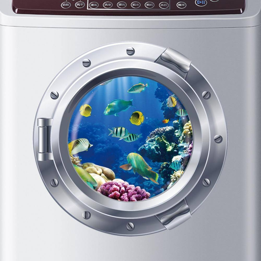 Wholesale 3D Ocean View Fish Window Wall Sticker Nursery Bathroom Intended For Recent Fish Decals For Bathroom (View 30 of 30)