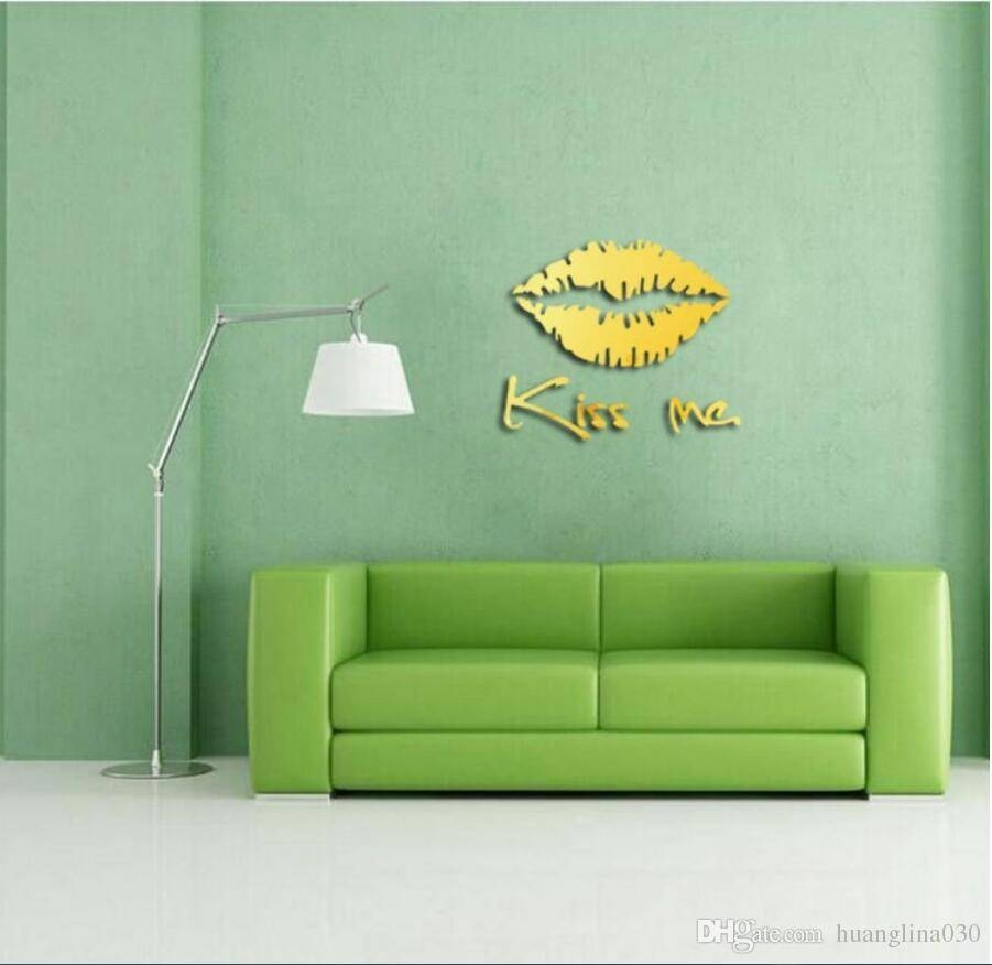 Wholesale Acrylic Kiss Me 3d Lip Shape Diy Mirror Wall Sticker In Most Recent 3d Wall Art Wholesale (View 6 of 20)