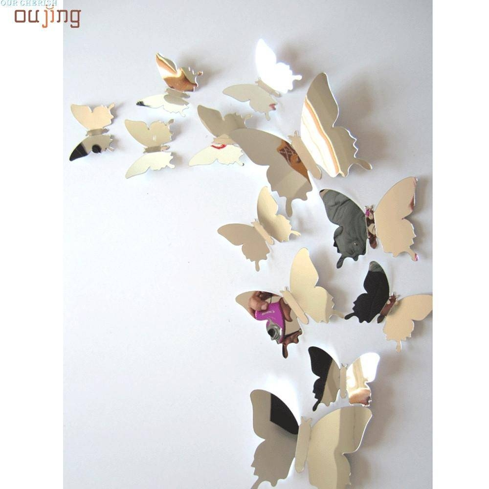 Wholesale  Festival Wall Stickers Decal Butterflies 3D Mirror Wall Throughout Most Up To Date 3D Wall Art Wholesale (View 20 of 20)