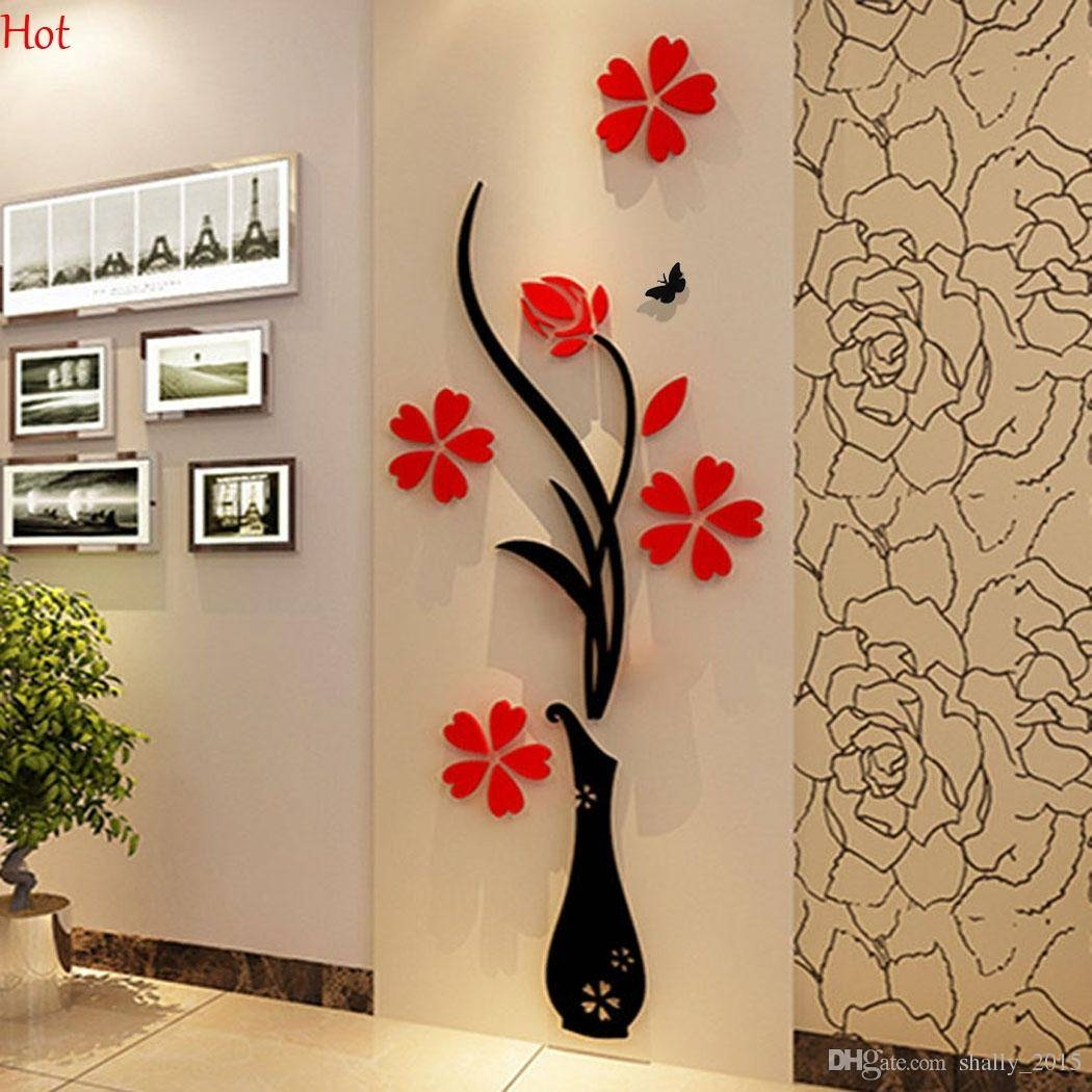 Wholesale Wall Stickers Acrylic 3d Plum Flower Vase Stickers Vinyl Inside Most Recent Vinyl 3d Wall Art (View 10 of 20)