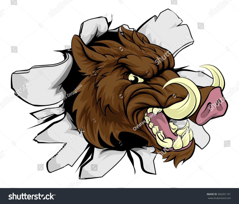 Wild Boar Razorback Cartoon Sports Mascot Stock Vector 366261191 Pertaining To Latest Razorback Wall Art (View 25 of 25)