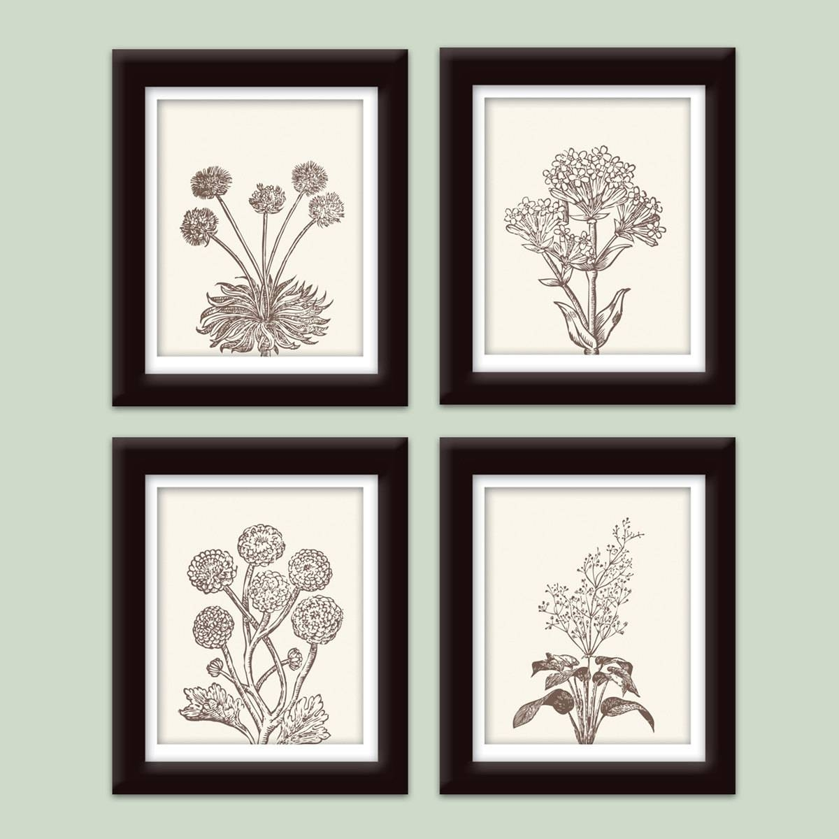 Wild Flowers Botanical Prints Series C Set Of 4 Art Within Most Recent Botanical Prints Etsy (Gallery 12 of 20)