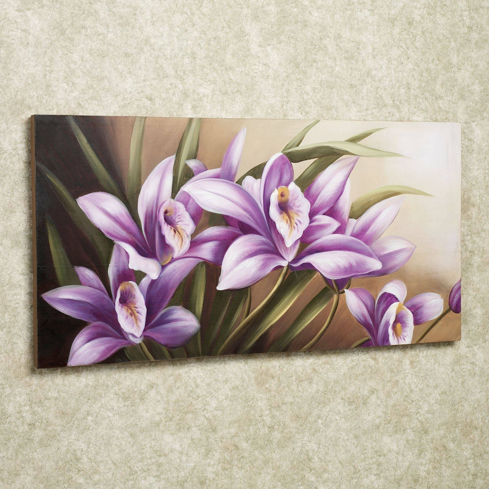 Wild Orchid Handpainted Floral Canvas Wall Art Within 2018 Purple Wall Art (View 17 of 20)