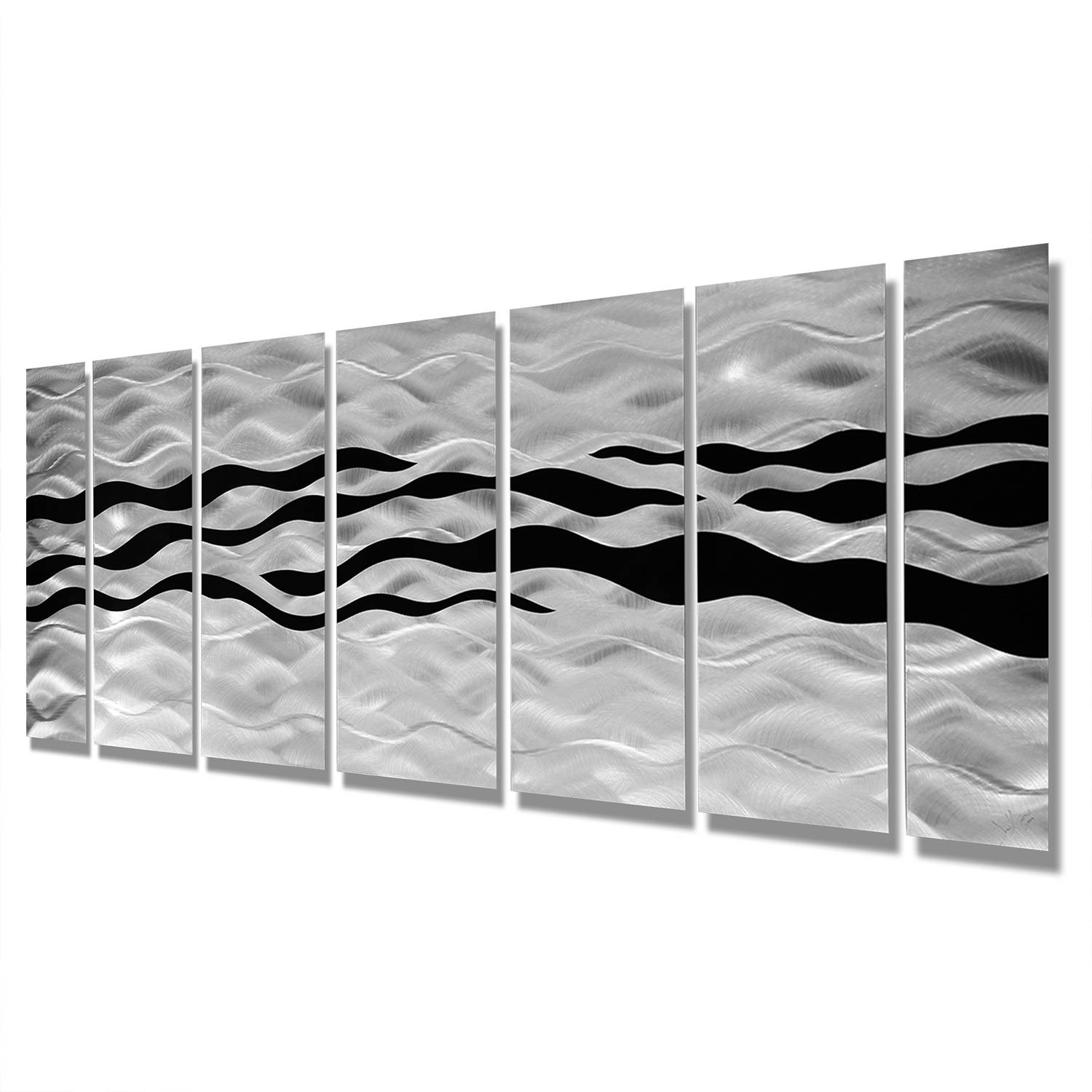Wild Ways – Silver And Black Modern Metallic Wall Hanging In Best And Newest Black Silver Wall Art (View 1 of 20)